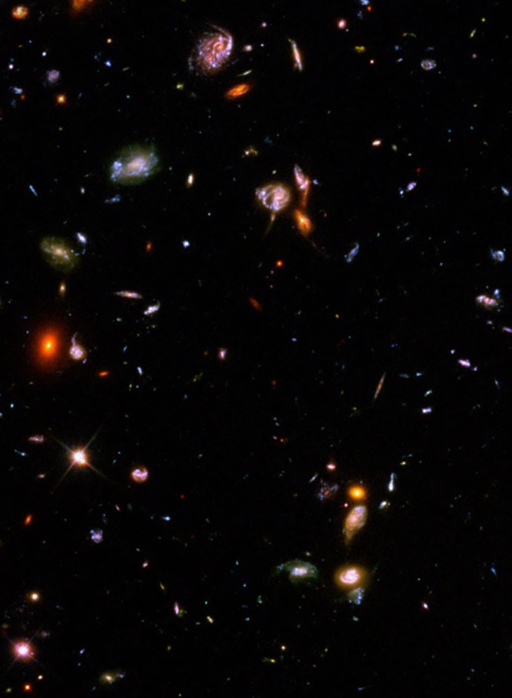Hubble deep field view of galaxies.