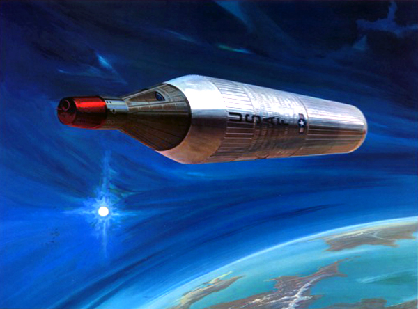 Manned Orbiting Laboratory (MOL) in Earth orbit, 1967, McDonnell Douglas.